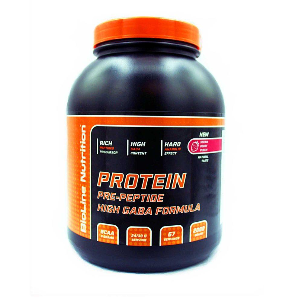 Купить BioLine Nutrition Protein + GABA - протеин + габа, для набора мышечной массы, вкус земляничный пунш в интернет магазине спортивного питания в Украине tvoy-prot.com.ua - цена, как принимать