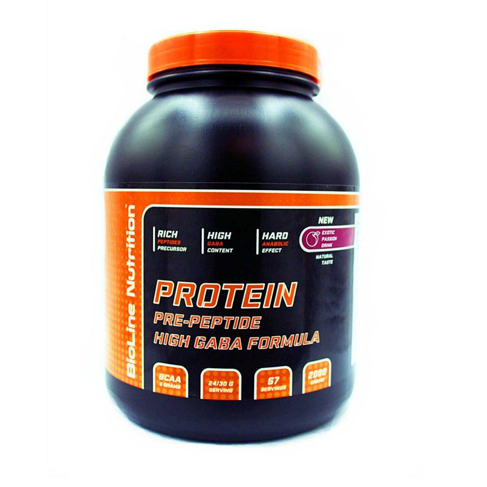 Купить BioLine Nutrition Protein + GABA - протеин + габа, для набора мышечной массы, вкус персик-маракуйя в интернет магазине спортивного питания в Украине tvoy-prot.com.ua - цена, как принимать