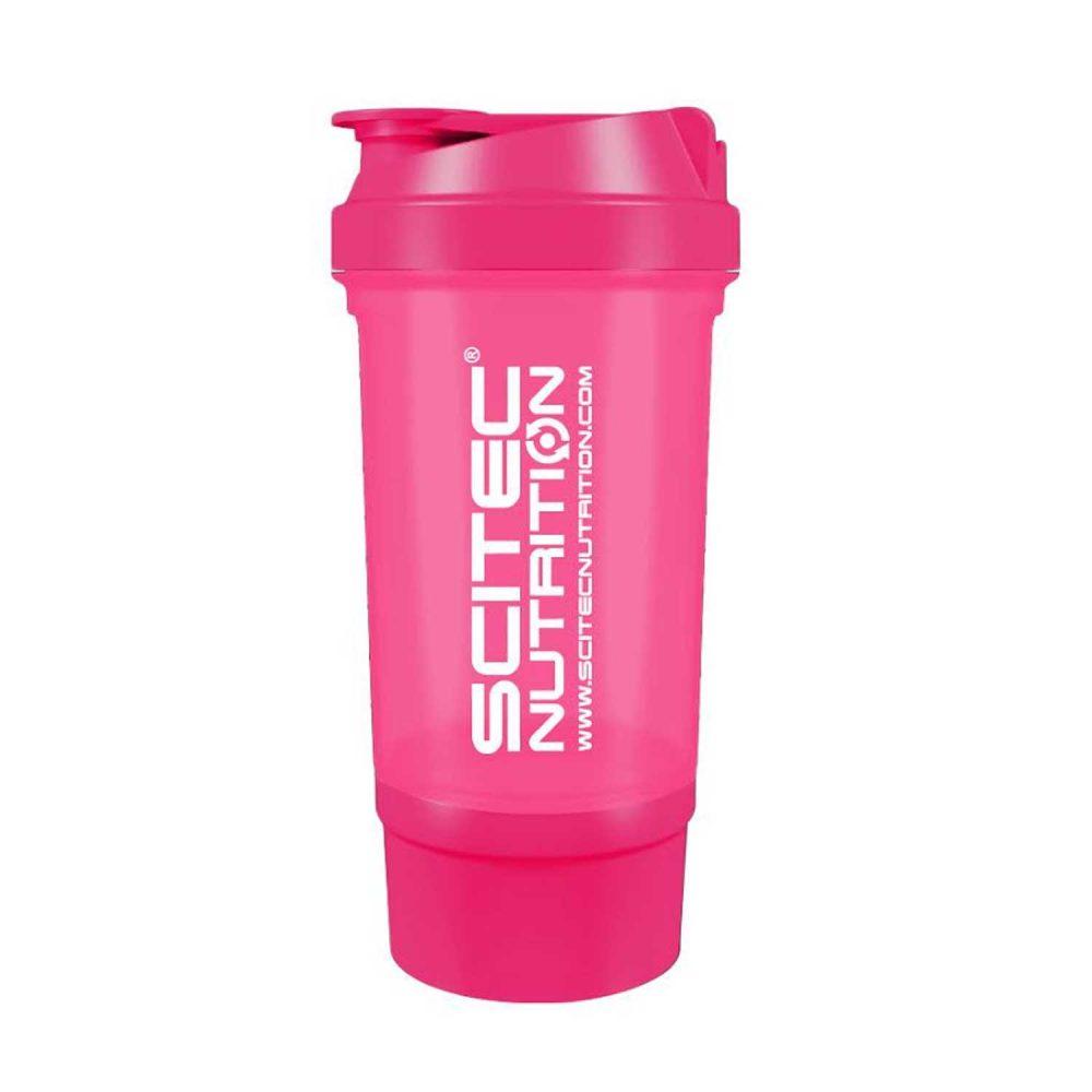 Купить шейкер розовый Scitec Nutrition с доп контейнером в Украине