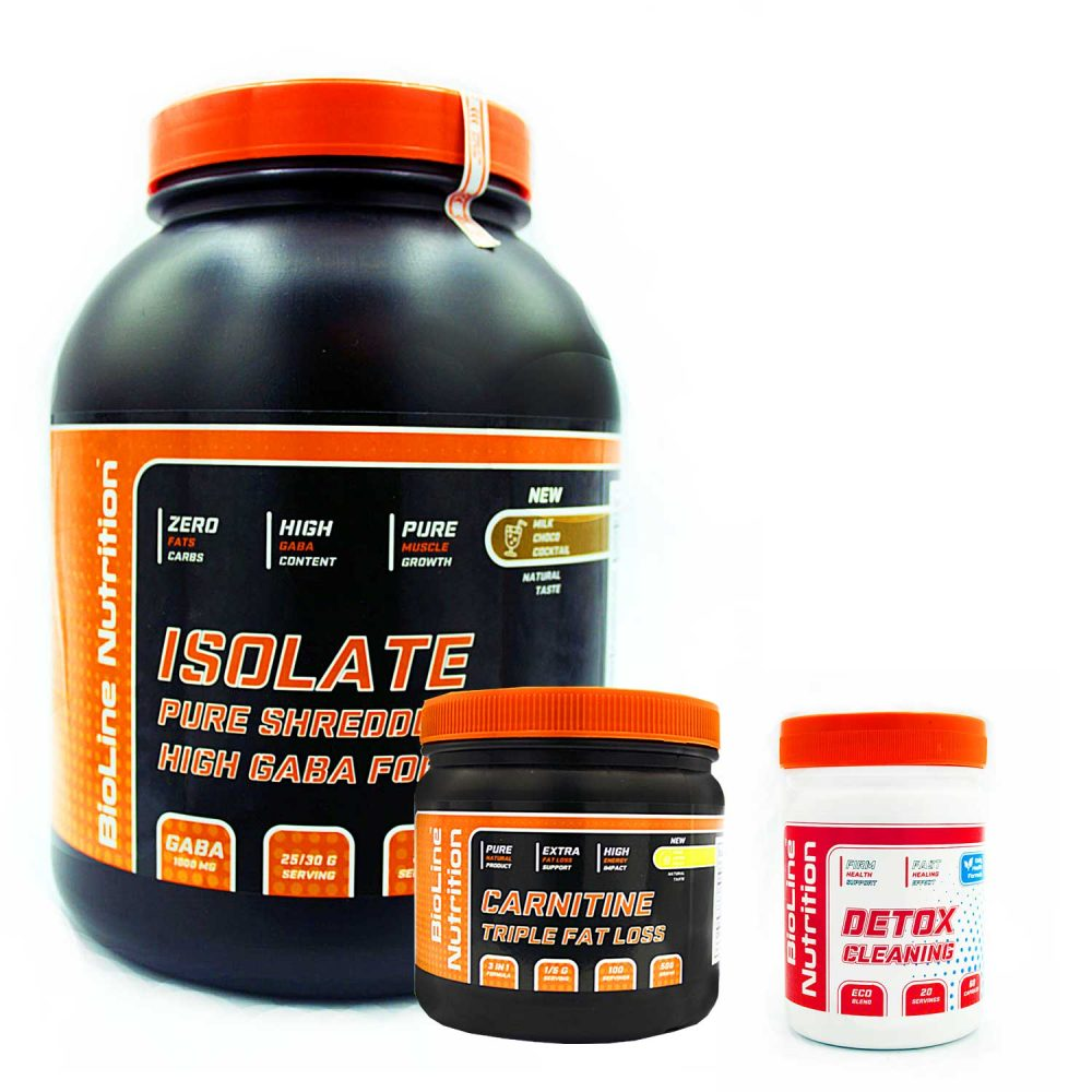 Купить набор спортивного питания для похудения (сушки) и очистки организма от шлаков Isolat + Carnitine + Detox в подарок от BioLine Nutrition- Tvoy Prot