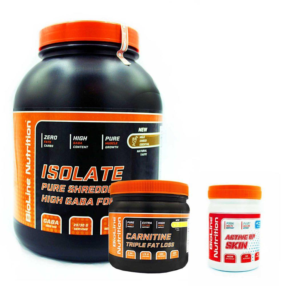 Купить набор спортивного питания для похудения (сушки) и восстановления кожи Isolat + Carnitine + Active up skin в подарок от BioLine Nutrition- Tvoy Prot