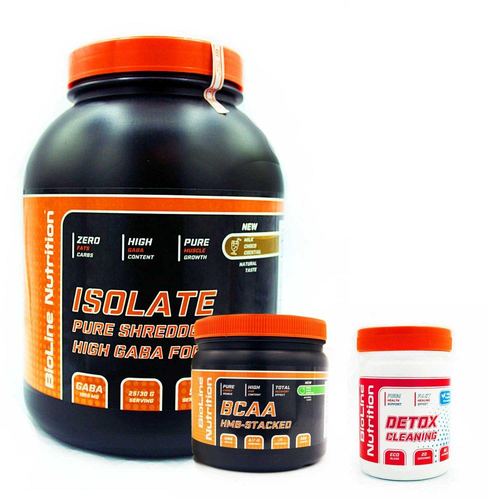 Купить набор спортивного питания для набора мышечной массы и очистки организма от шлаков Isolat + BCAA + Detox в подарок от BioLine Nutrition- Tvoy Prot