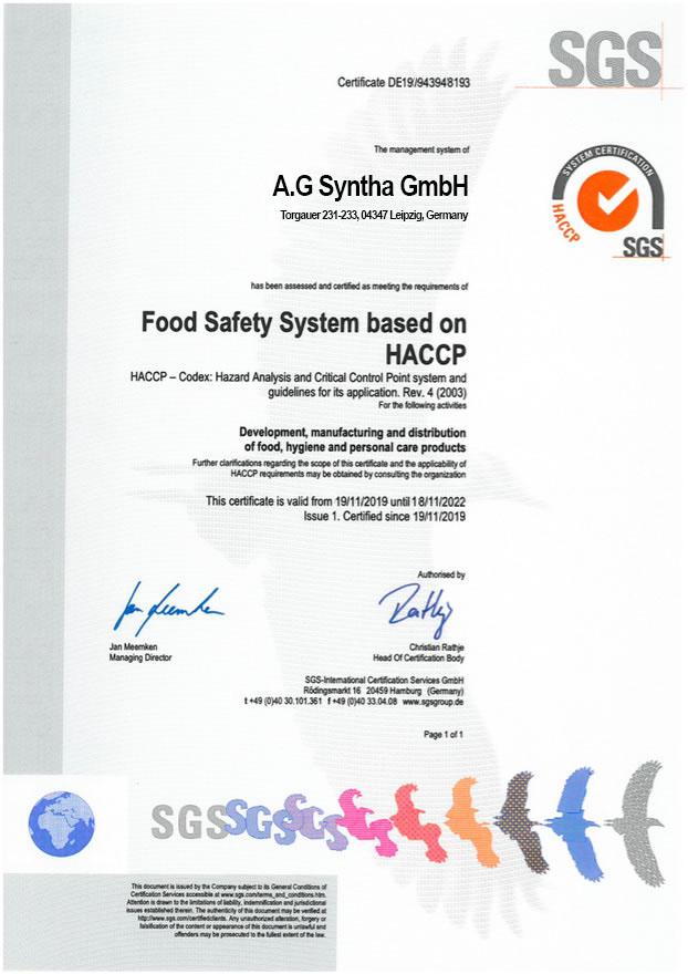 Документы сертификаты качества на спортивное питание в Украине Bio LIne Nutrition Germany- tvoy-prot.com.ua - HACCP