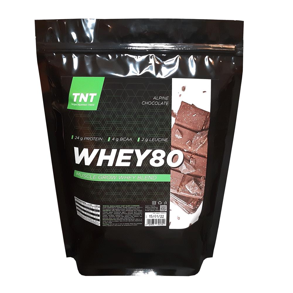 Купить протеина для роста мышц TM TNT (Target Nutrition Trend) вкус: альпийский шоколад Whey 80 цена, фото, состав, отзывы на сайте tvoy-prot.com.ua