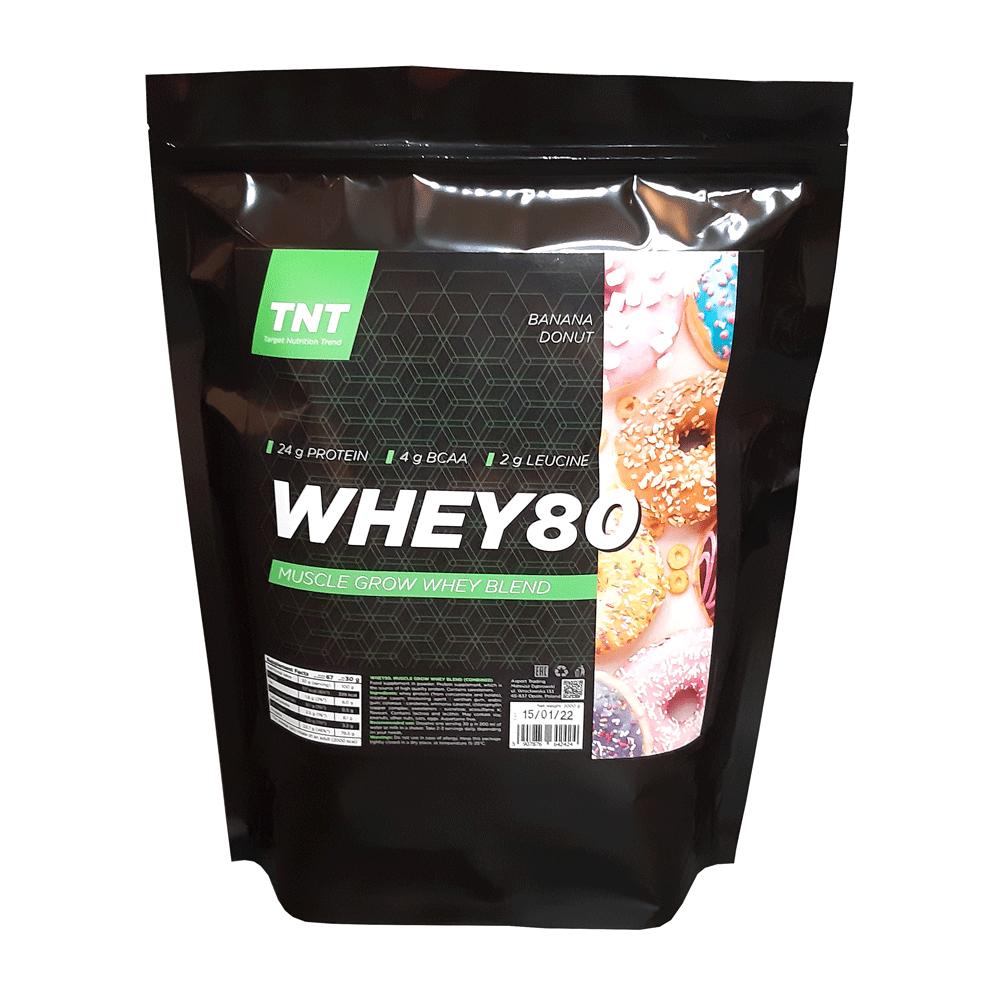 Купить протеина для роста мышц TM TNT (Target Nutrition Trend) вкус: банановый пончик Whey 80 цена, фото, состав, отзывы на сайте tvoy-prot.com.ua